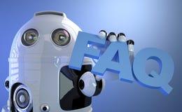 拿着常见问题解答标志的机器人。技术概念。 免版税库存照片