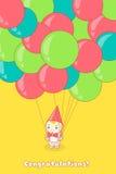 拿着很多气球的年轻人 图库摄影