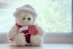 拿着心形的五颜六色的螺旋棒棒糖的逗人喜爱的玩具熊 图库摄影