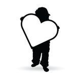 拿着心脏例证剪影的孩子 库存图片