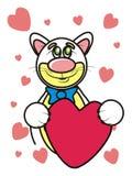 拿着心脏的爱猫 免版税库存图片