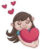 拿着心脏的爱的女孩。 向量例证