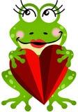 拿着心脏的青蛙女孩 库存图片