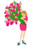 拿着心脏花的俏丽的妇女 向量例证