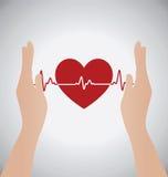 拿着心跳心动电描记器的心脏手 免版税库存照片