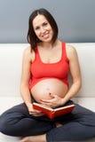 拿着怀孕的坐的沙发妇女的书 库存图片