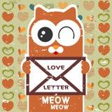 拿着情书的逗人喜爱的猫 免版税库存照片
