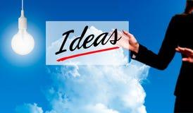 拿着想法标志-企业概念的女商人 免版税库存照片