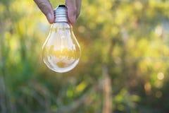 拿着想法的人的手电灯泡或成功或者太阳e 图库摄影