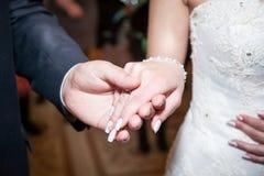 拿着手、愉快的新郎和新娘,易上手的婚礼夫妇 免版税库存照片