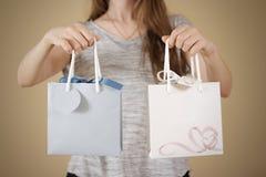 拿着手中与心脏的女孩空白两纸礼物袋子嘲笑u 库存图片