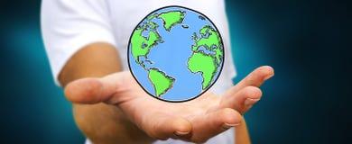 拿着手拉的行星地球的商人 库存图片