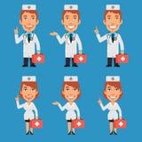 拿着手提箱和点的医生和护士 向量例证
