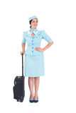 拿着手提箱的俏丽的空中小姐 库存照片