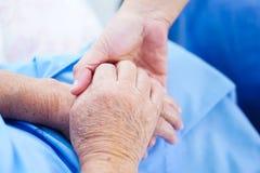 拿着手有爱的亚裔资深或年长老妇人妇女病人,关心,在护理医院病房鼓励和同情 库存照片