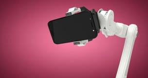 拿着手机3d的机器人的综合图象的综合图象 免版税库存图片