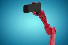 拿着手机3d的红色机器人的综合图象的综合图象 免版税图库摄影