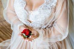 拿着扣眼的新娘 举行新郎的新娘的柔和的手钮扣眼上插的花 库存照片