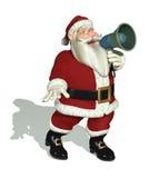 拿着扩音机的圣诞老人 免版税库存照片