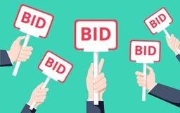 拿着拍卖桨的手 平的传染媒介例证 拍卖和出价概念 销售过程 向量例证
