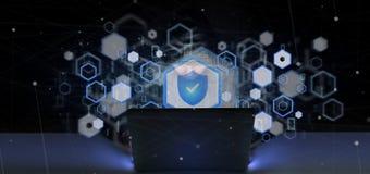 拿着挂锁网安全概念3d翻译的黑客人 免版税库存照片