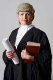 拿着摘要和书的女性律师画象 免版税库存图片