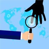 拿着放大镜的探员 指纹 储蓄传染媒介动画片例证 免版税库存图片