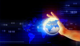 拿着数字式世界的人的手 免版税库存照片