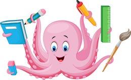 拿着文具的动画片章鱼 库存例证