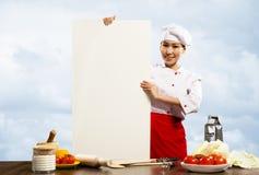 拿着文本的女性主厨一张海报 库存图片