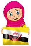 拿着文莱旗子的一个回教女孩 皇族释放例证