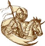 拿着旗子图画的马的骑士 免版税库存照片