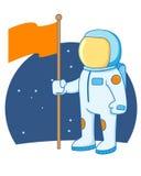 拿着旗子的宇航员 免版税图库摄影