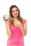 拿着时钟的妇女 免版税库存照片