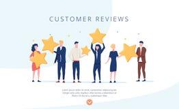 拿着星的人们 顾客回顾概念例证概念例证,为网络设计,横幅完善 库存例证