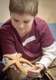 拿着星鱼的男孩 免版税库存图片