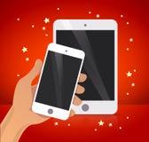 拿着智能手机例证的传染媒介平的人的手 图库摄影
