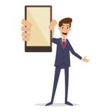 拿着智能手机的商人 库存照片