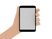 拿着智能手机的手的例证
