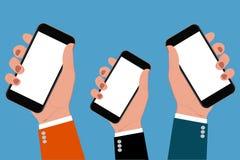 拿着智能手机,传染媒介例证的手 免版税库存图片
