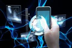 拿着智能手机3d的手的综合图象 免版税图库摄影