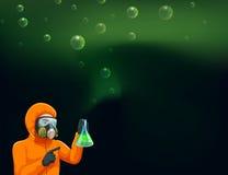 拿着有化学制品的化学家一个圆筒 向量例证