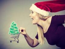 拿着有圣诞节礼物的圣诞老人妇女购物车 免版税库存图片