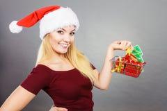 拿着有圣诞节礼物的愉快的妇女购物车 免版税库存图片