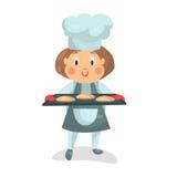 拿着有小圆面包例证的逗人喜爱的动画片小女孩厨师字符一个烹调盘子 皇族释放例证