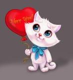 拿着有我爱你感觉的标志的-蓝眼睛的手拉的漫画人物的逗人喜爱的微笑的白色小猫心脏气球 库存图片