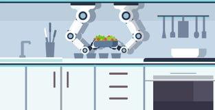 拿着有新沙拉厨房辅助概念自动化机器人创新技术的巧妙的厨师机器人手碗 向量例证