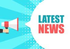 拿着有最新的新闻讲话泡影的男性手扩音机 扩音器 事务、行销和广告的横幅 皇族释放例证
