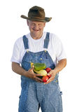 拿着有机蔬菜的农夫 库存图片