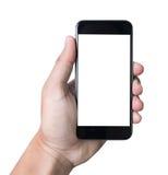 拿着有白色屏幕的被隔绝的男性手一个电话 库存照片